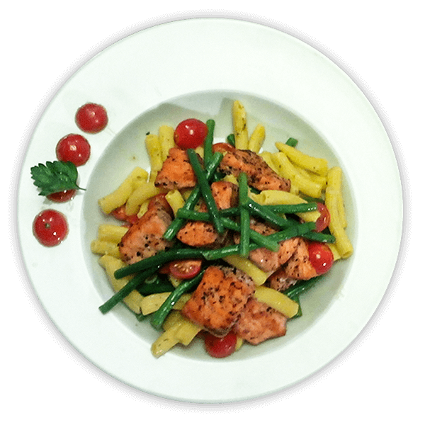 Losos stěstovinovým salátem